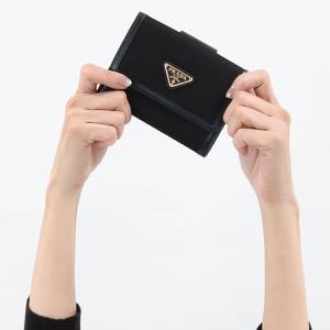 プラダ 二つ折り財布 財布 レディース テスート トライアングル 三角ロゴプレート ブラック 1MH523 2B15 F0002 PRADA