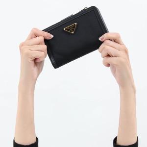 プラダ 二つ折り財布 財布 レディース テスート トライアングル 三角ロゴプレート ブラック 1ML225 2B15 F0002 PRADA