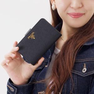 プラダ 二つ折り財布 財布 レディース SAFFIANO METAL ブラック 1ML225 QWA F0002 PRADA