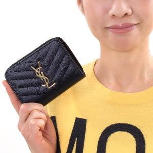 サンローランパリ イヴサンローラン 二つ折り財布 財布 レディース モノグラム MONOGRAMME YSL ブラック 403723 BOW01 1000 SAINT LAURENT PARIS