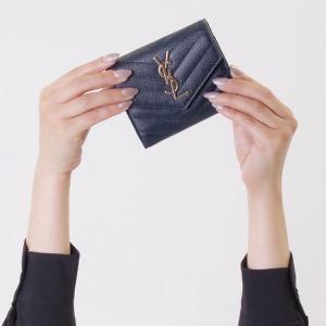 サンローランパリ イヴサンローラン 三つ折り財布 財布 レディース モノグラム YSL ダークブルー 403943 BOW01 4128 SAINT LAURENT PARIS