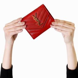 サンローランパリ イヴサンローラン 三つ折り財布 財布 レディース モノグラム YSL バンダナレッド 403943 BOW01 6515 SAINT LAURENT PARIS