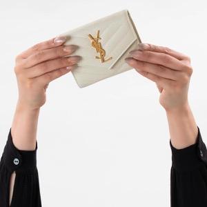 サンローランパリ イヴサンローラン 三つ折り財布 財布 レディース モノグラム YSL クリームソフトホワイト 403943 BOW01 9207 SAINT LAURENT PARIS