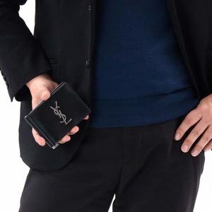 サンローランパリ イヴサンローラン 二つ折り財布【札入れ】/マネークリップ 財布 メンズ モノグラム YSL ブラック 485630 0SX0E 1000 SAINT LAURENT PARIS