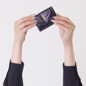 サンローランパリ イヴサンローラン 三つ折り財布/ミニ財布 財布 レディース モノグラム YSL ブラック 505118 BOWA1 1000 SAINT LAURENT PARIS