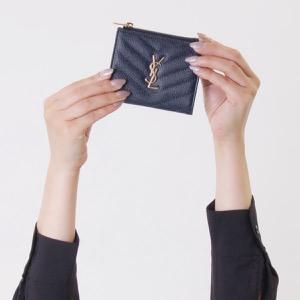 サンローランパリ イヴサンローラン 二つ折り財布 財布 レディース モノグラム YSL ダークブルー 517045 BOW01 4128 SAINT LAURENT PARIS