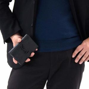 サンローランパリ イヴサンローラン 二つ折り財布 財布 メンズ レディース モノグラム クロコエンボス YSL ブラック 529882 C9H0U 1000 SAINT LAURENT PARIS