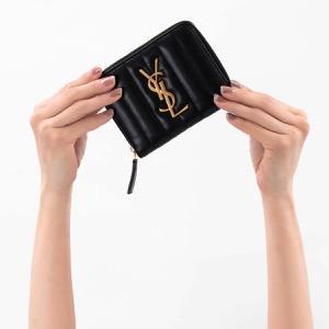 サンローランパリ イヴサンローラン 二つ折り財布 財布 レディース ヴィキ YSL ブラック 553678 0YD01 1000 SAINT LAURENT PARIS