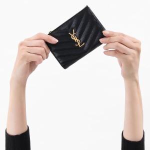 サンローランパリ イヴサンローラン 二つ折り財布 財布 レディース モノグラム YSL ブラック 575974 BOW01 1000 2019年春夏新作 SAINT LAURENT PARIS
