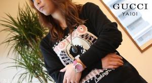 グッチ Gクロノ クロノグラフ ダイヤ アリゲーターレザー 腕時計 ユニセックス GUCCI YA101313