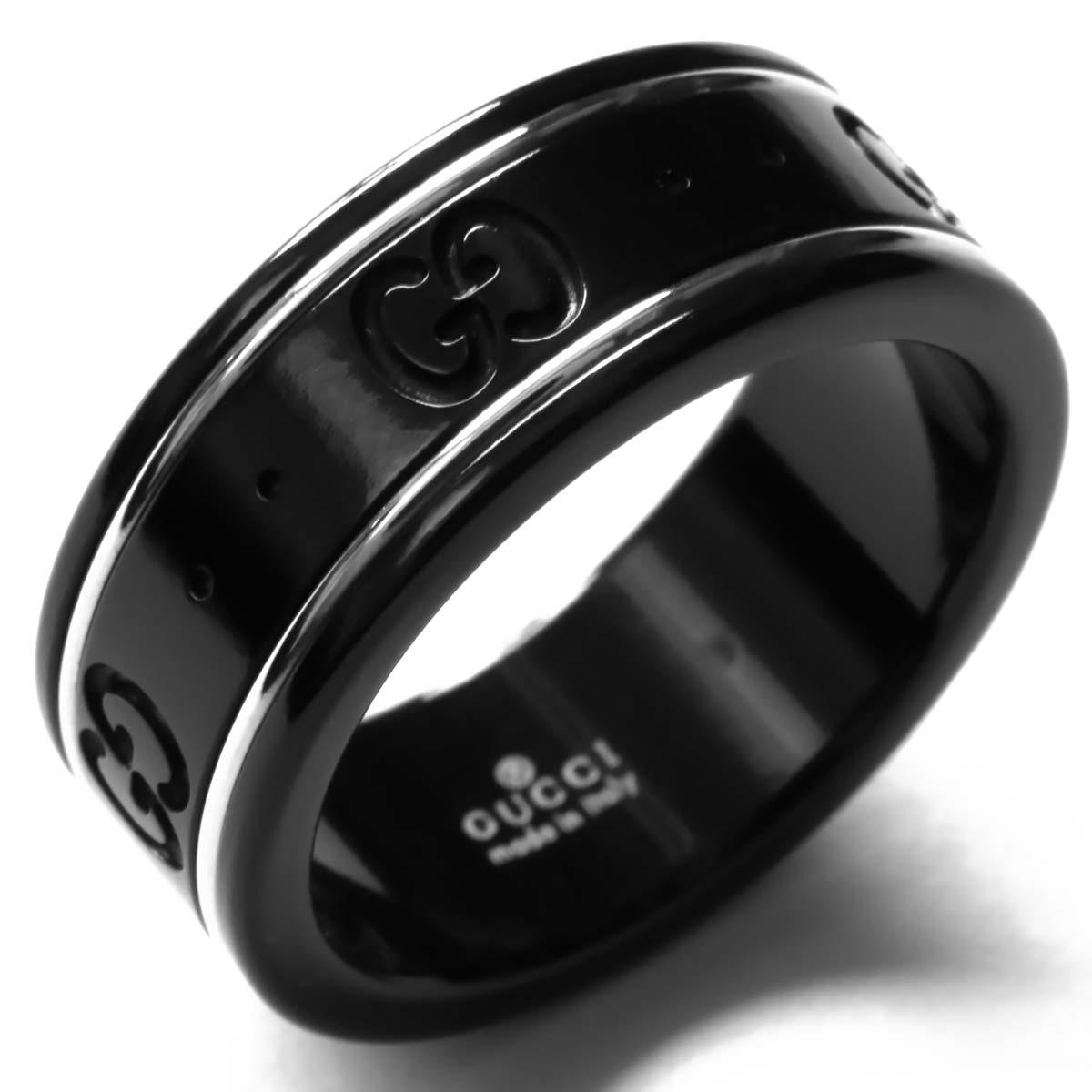 d085c83751a4 グッチ リング【指輪】 アクセサリー メンズ レディース GGアイコン ブラック&ホワイトゴールド 225985 I19A1