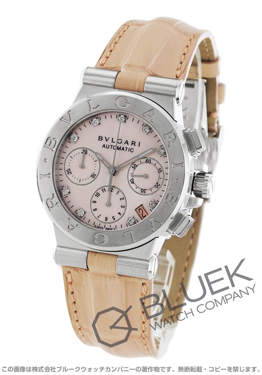 ブルガリ ディアゴノ クロノグラフ ダイヤ アリゲーターレザー 腕時計 レディース BVLGARI DG35C2SLDCH9