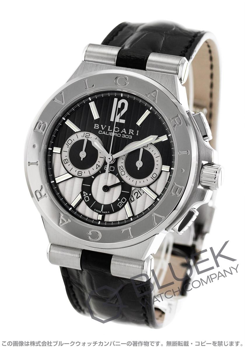 be61794e57d5 ブルガリ ディアゴノ カリブロ303 クロノグラフ アリゲーターレザー 腕時計 メンズ BVLGARI DG42BSLDCH