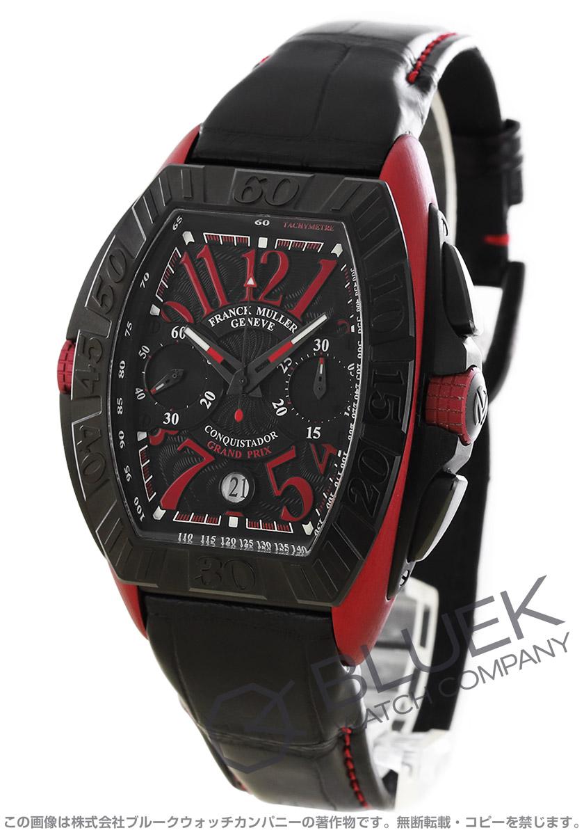 フランクミュラー コンキスタドール グランプリ クロノグラフ クロコレザー 腕時計 メンズ FRANCK MULLER 8900 CC DT GPG TT NR ERG[FM8900CCTIRDBKLZBK]