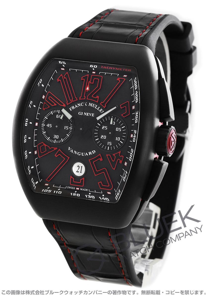 フランクミュラー ヴァンガード クロノグラフ クロコレザー 腕時計 メンズ FRANCK MULLER V45 CC DT TT NR BR ER[FMV45CCTIRDNRBKLZBK]