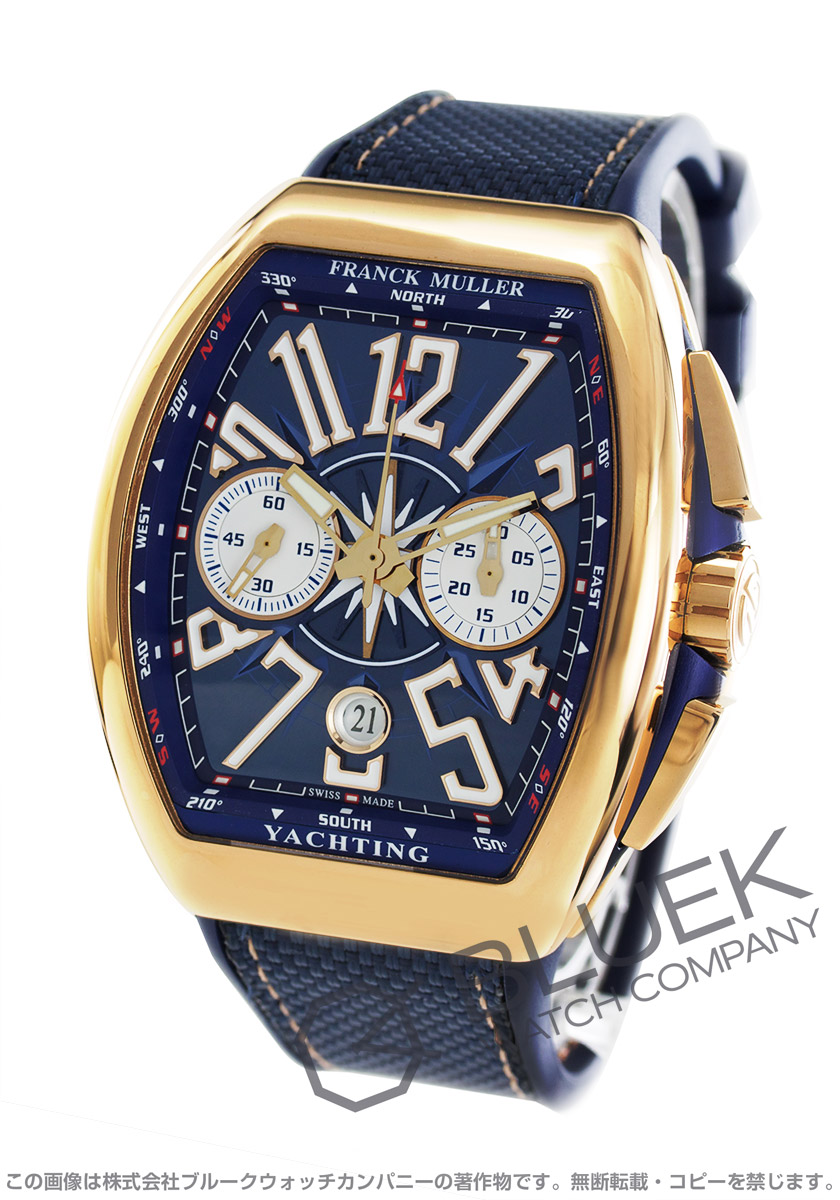 フランクミュラー ヴァンガード ヨッティング PG金無垢 クロノグラフ 腕時計 メンズ FRANCK MULLER V 45 CC DT