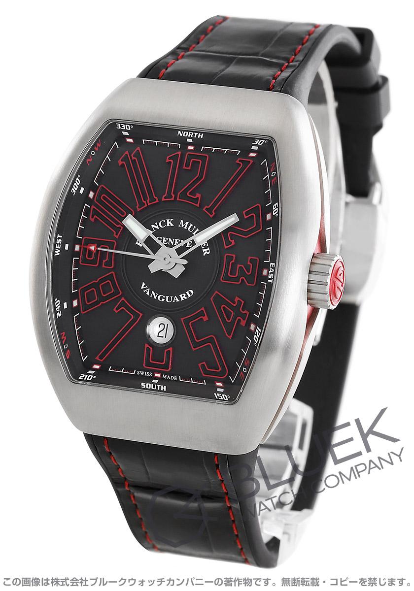 フランクミュラー ヴァンガード クロコレザー 腕時計 メンズ FRANCK MULLER V45 SC DT AC BR ER[FMV45SCSSGYRDBKLZBK]