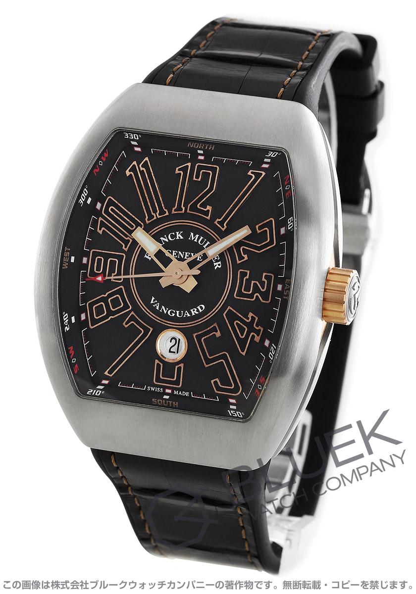 フランクミュラー ヴァンガード クロコレザー 腕時計 メンズ FRANCK MULLER V45 SC DT AC BR STG BR[FMV45SCSSSLPGBKLZBK]
