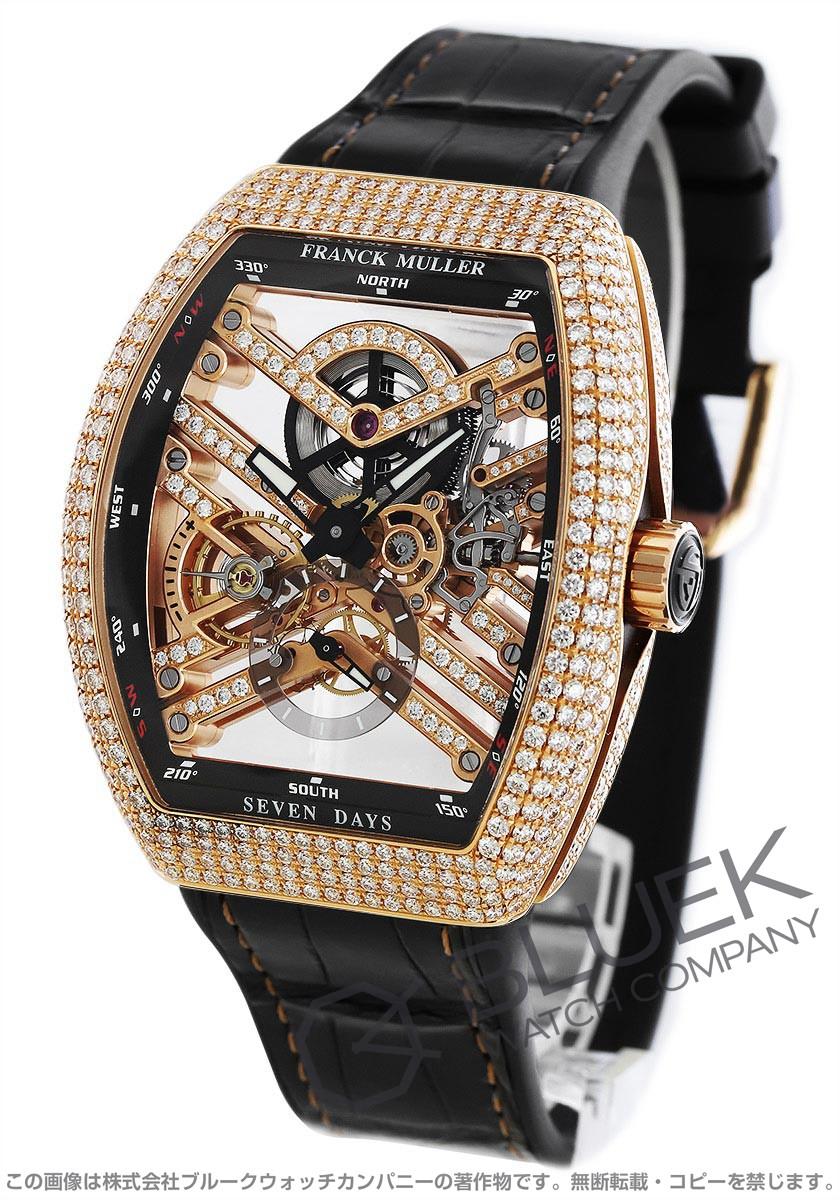 フランクミュラー ヴァンガード 7デイズ パワーリザーブ スケルトン ダイヤ PG金無垢 クロコレザー 腕時計 メンズ FRANCK MULLER V45 S6 SQT D MVT D 5N NR