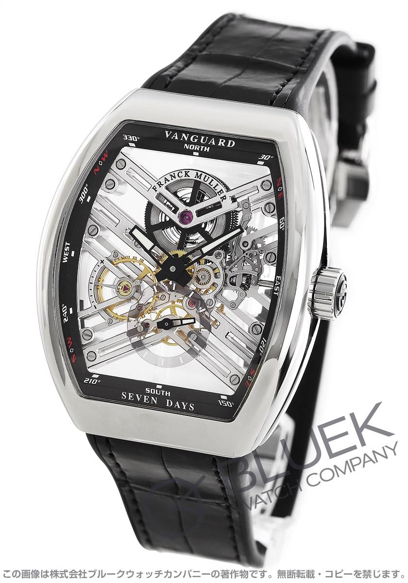 フランクミュラー ヴァンガード 7デイズ パワーリザーブ スケルトン クロコレザー 腕時計 メンズ FRANCK MULLER V 45 S6 SQT AC NR[FMV45TSQT7DPLSSSLSLLZBKCR]