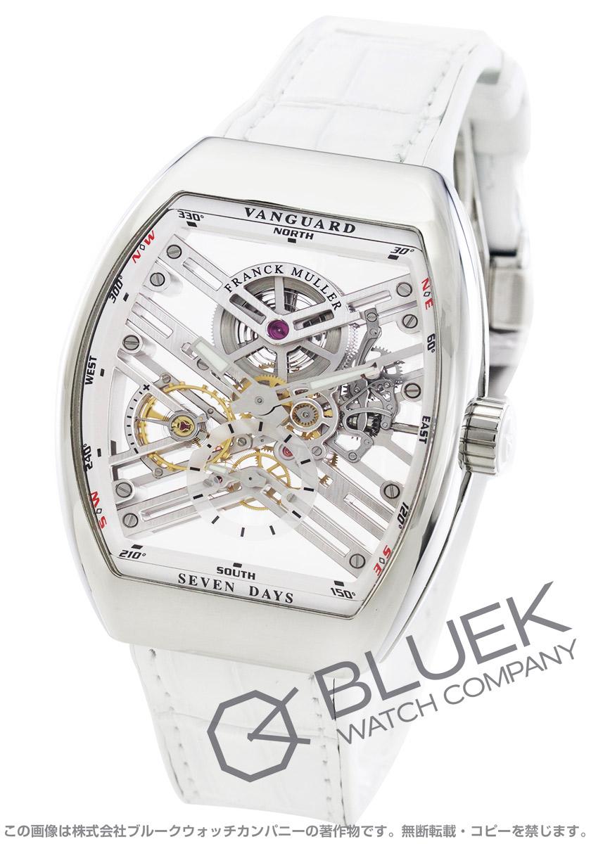 フランクミュラー ヴァンガード 7デイズ パワーリザーブ スケルトン クロコレザー 腕時計 メンズ FRANCK MULLER V45 S6 SQT AC BC[FMV45TSQT7DPLSSWHSLLZWHCR]