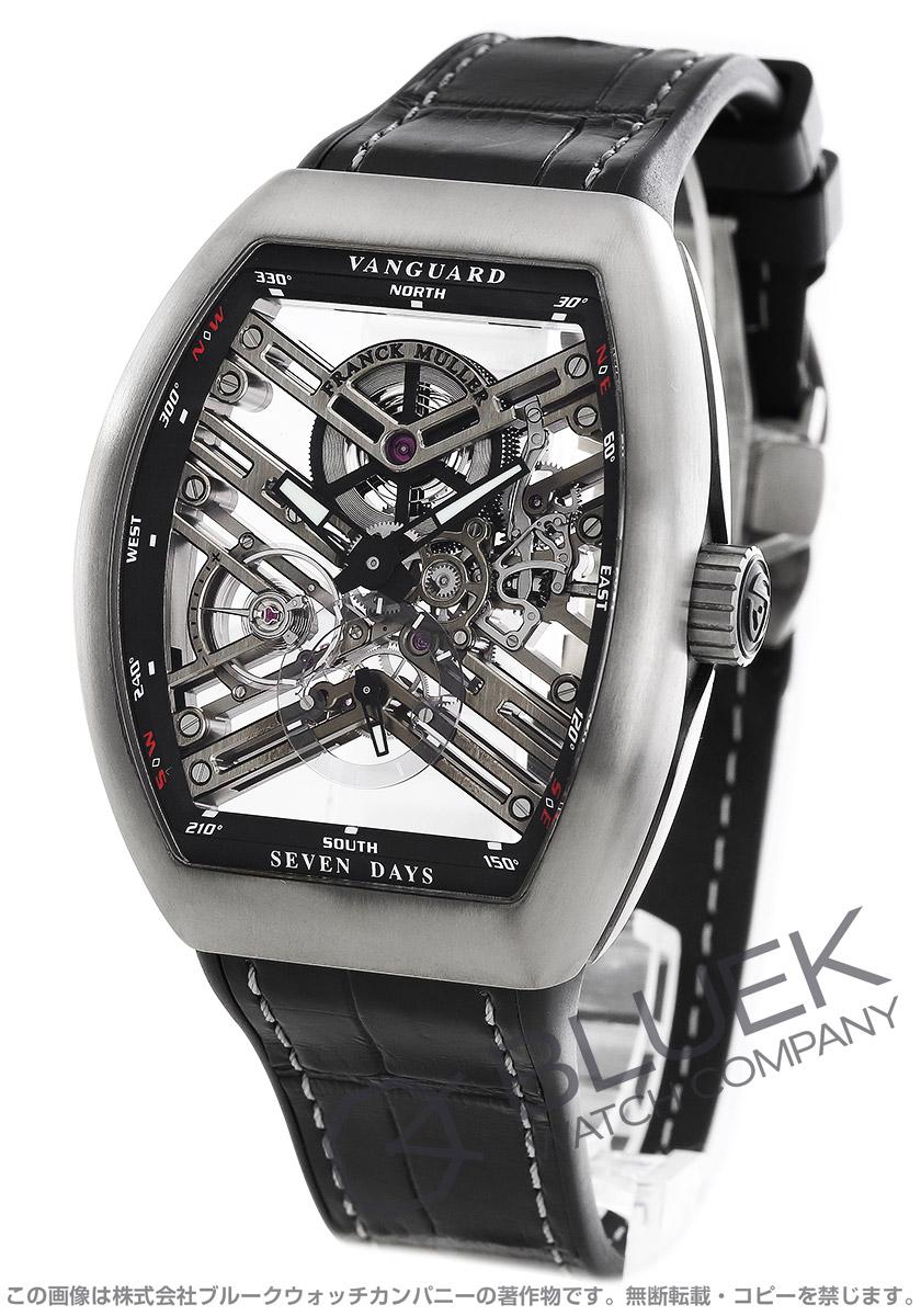 フランクミュラー ヴァンガード 7デイズ パワーリザーブ スケルトン クロコレザー 腕時計 メンズ FRANCK MULLER V45 S6 SQT TT BR NR