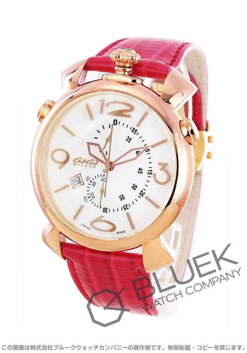 ガガミラノ シン クロノ46MM クロノグラフ リザードレザー 腕時計 ユニセックス GaGa MILANO 5098.01
