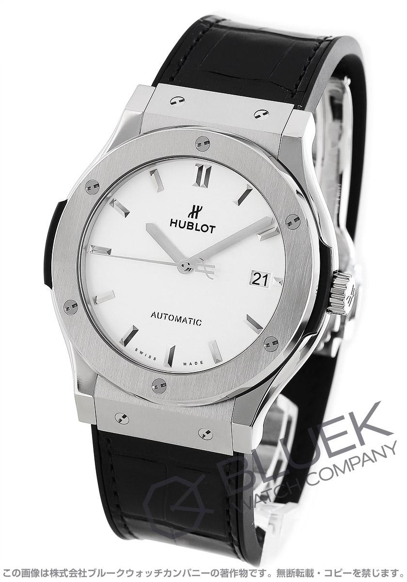 ウブロ クラシック フュージョン チタニウム オパリン アリゲーターレザー 腕時計 メンズ HUBLOT 511.NX.2611.LR