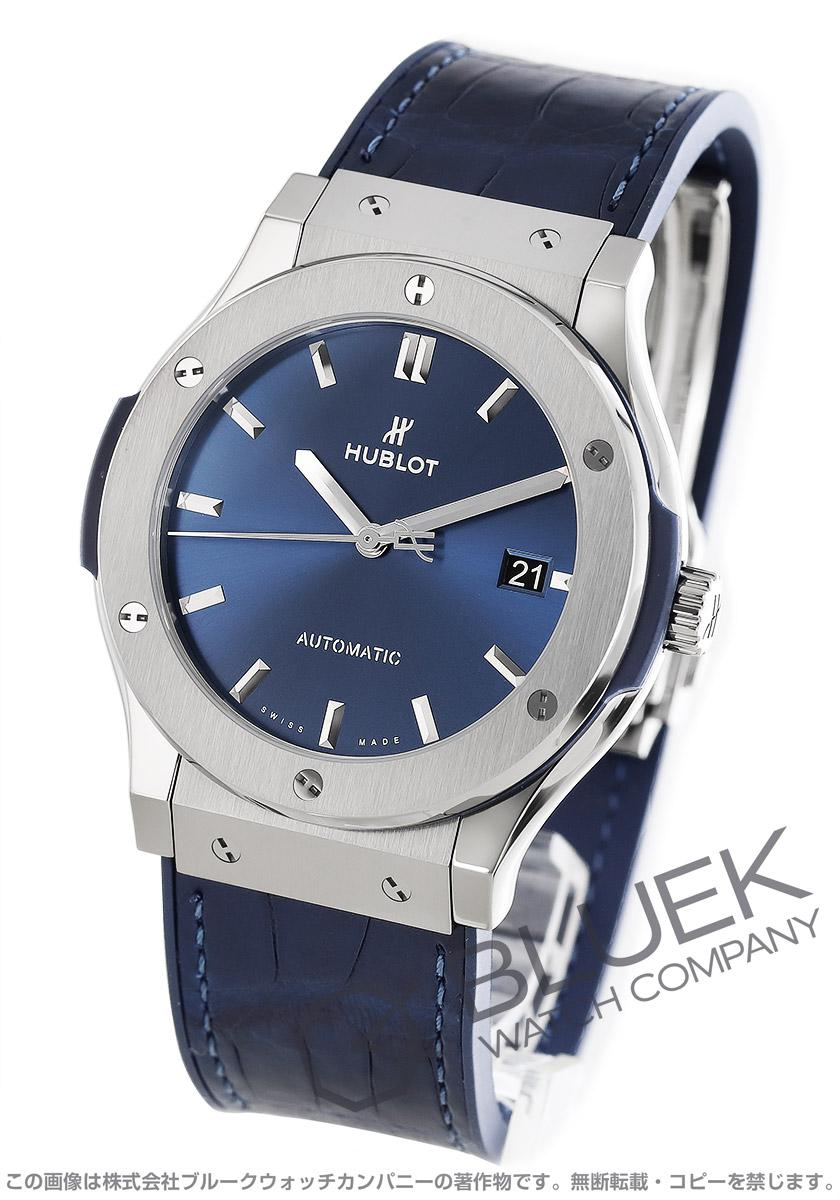 ウブロ クラシック フュージョン チタニウムブルー アリゲーターレザー 腕時計 メンズ HUBLOT 511.NX.7170.LR