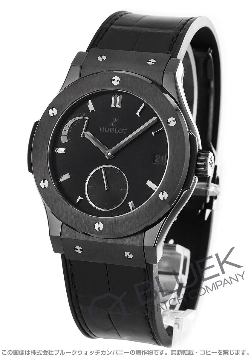 ウブロ クラシック フュージョン 8デイズ オールブラック 世界限定500本 パワーリザーブ アリゲーターレザー 腕時計 メンズ HUBLOT 516CM1440LR