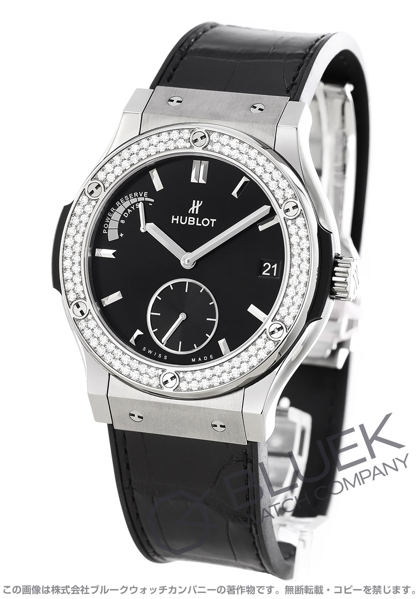 ウブロ クラシック フュージョン パワーリザーブ 8デイズ チタニウム ダイヤ アリゲーターレザー 腕時計 メンズ HUBLOT 516.NX.1470.LR.1104