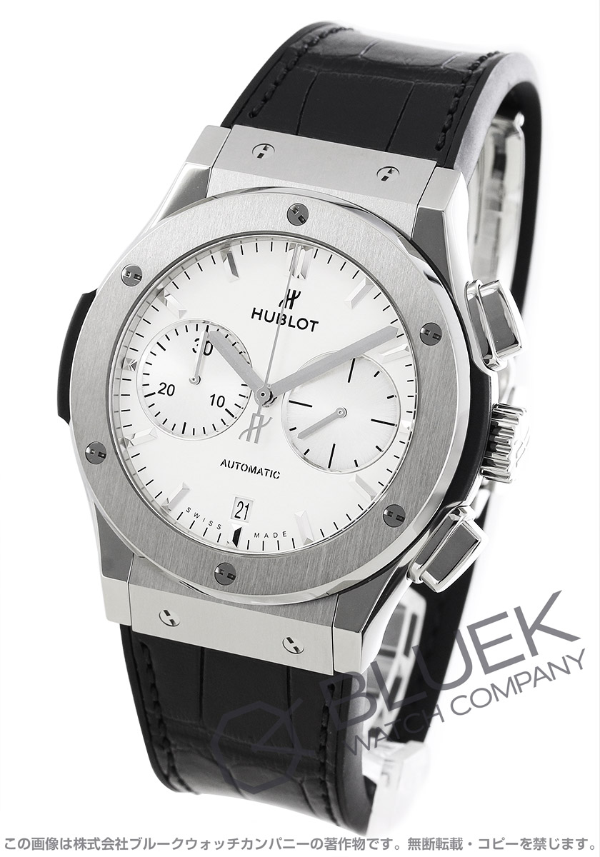 ウブロ クラシック フュージョン チタニウム オパリン クロノグラフ アリゲーターレザー 腕時計 メンズ HUBLOT 521.NX.2611.LR