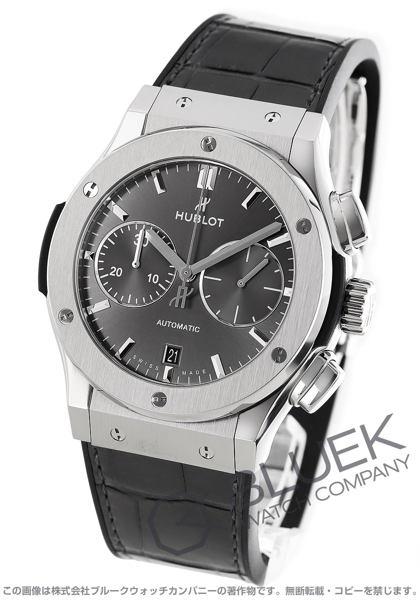 ウブロ クラシック フュージョン チタニウム クロノグラフ アリゲーターレザー 腕時計 メンズ HUBLOT 521.NX.7071.LR
