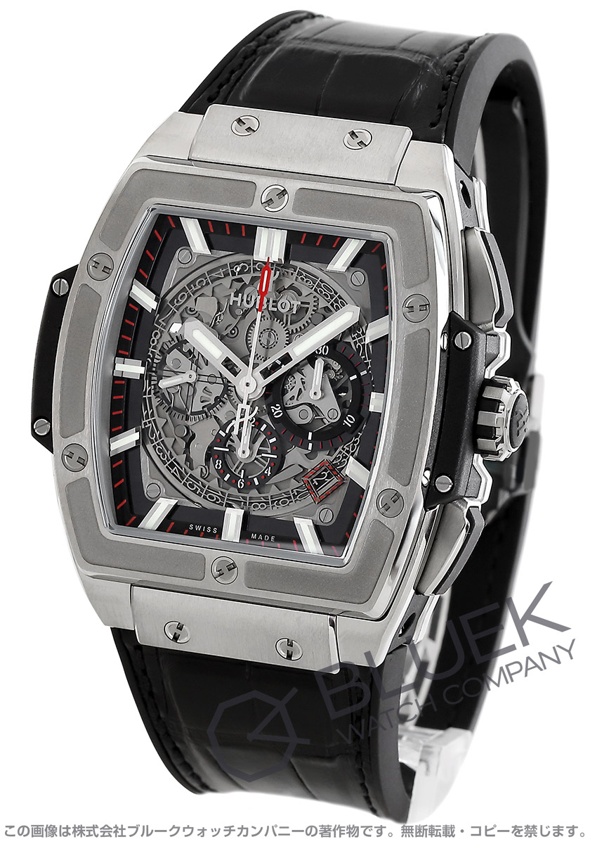 ウブロ スピリット オブ ビッグバン チタニウム クロノグラフ アリゲーターレザー 腕時計 メンズ HUBLOT 601.NX.0173.LR