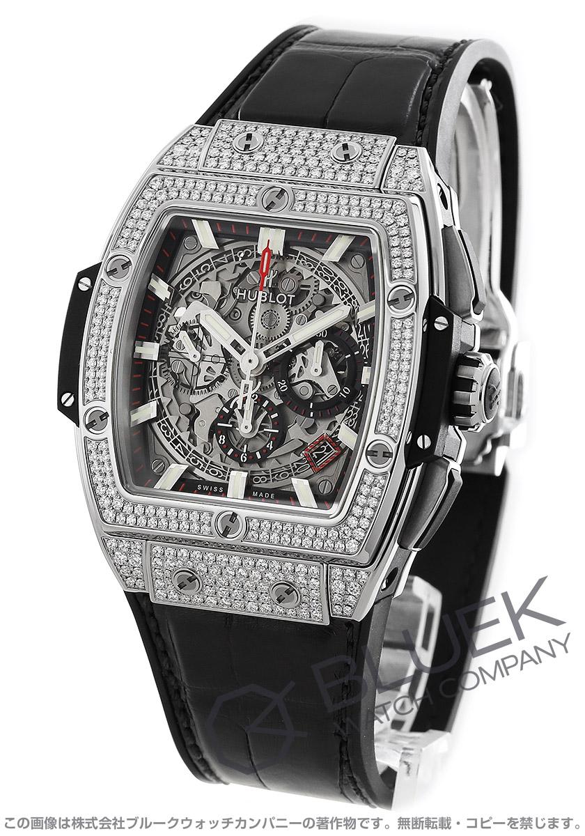 ウブロ スピリット オブ ビッグバン チタニウム パヴェ クロノグラフ ダイヤ アリゲーターレザー 腕時計 メンズ HUBLOT 641.NX.0173.LR.1704
