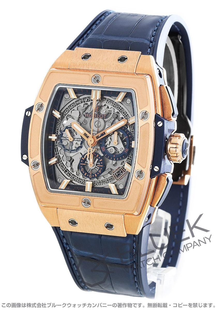 ウブロ スピリット オブ ビッグバン キングゴールド ブルー 金無垢 クロノグラフ アリゲーターレザー 腕時計 メンズ HUBLOT 641.OX.7180.LR