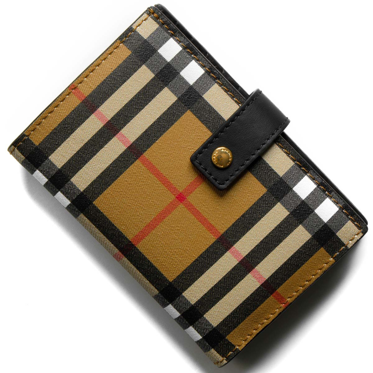 5ea67f936489 バーバリー 二つ折り財布 財布 メンズ レディース メリルボーン ヴィンテージチェック アンティークイエローベージュ&ブラック