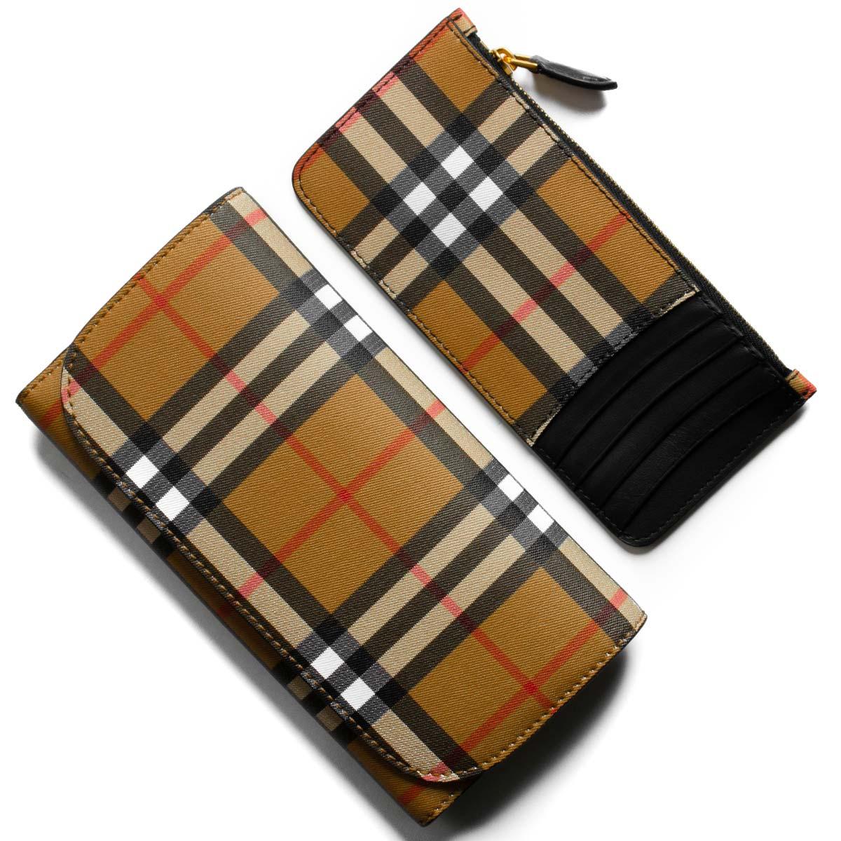 new product 0c046 ca6ad バーバリー 長財布/三つ折り財布 財布 メンズ レディース ケントン ヴィンテージチェック アンティークイエローベージュ&ブラック 4073139  00100 BURBERRY