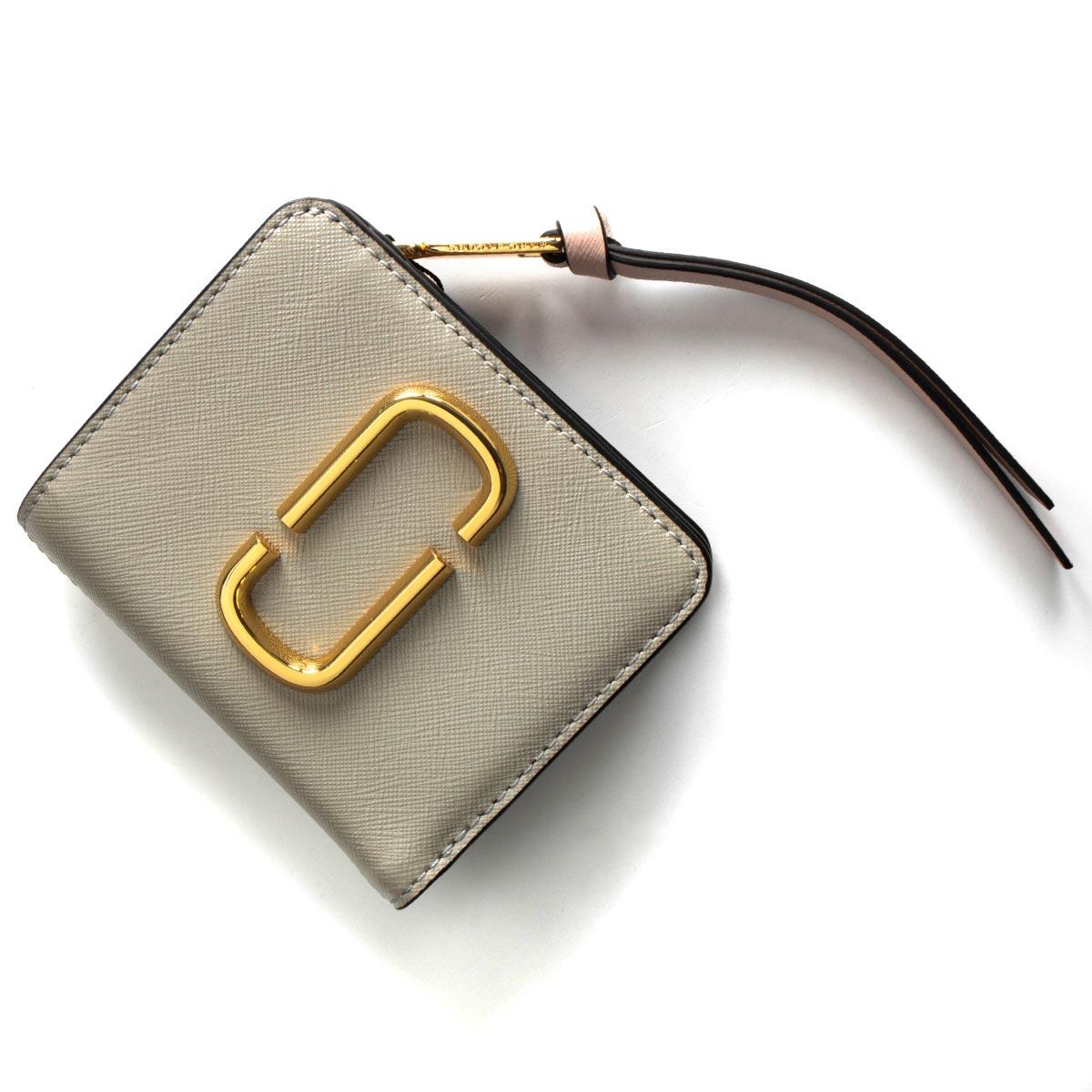 55979efe0b57 マークジェイコブス 二つ折り財布 財布 レディース スナップショット ダブルJロゴ ダストグレーマルチ M0014282