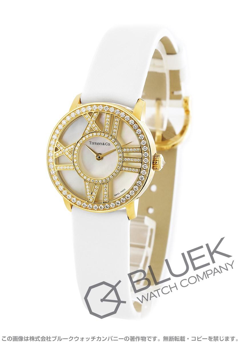 ティファニー アトラス ダイヤ YG金無垢 サテンレザー 腕時計 レディース TIFFANY Z1900.10.50E91A40B