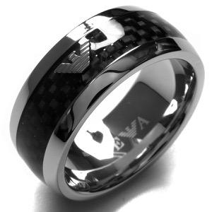 エンポリオアルマーニ リング【指輪】 アクセサリー メンズ イーグルマーク 22号 シルバー&ブラック EGS1602040512 200 EMPORIO ARMANI