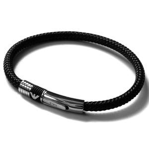 エンポリオアルマーニ ブレスレット アクセサリー メンズ イーグルマーク シルバー&ブラック EGS1624001 19 EMPORIO ARMANI