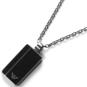 エンポリオアルマーニ ネックレス アクセサリー メンズ イーグルマーク プレート シルバー&ブラック EGS2031040 EMPORIO ARMANI