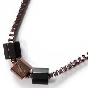 エンポリオアルマーニ ネックレス アクセサリー メンズ イーグルマーク 3連リング ガンメタル&ブラック EGS2433001 EMPORIO ARMANI