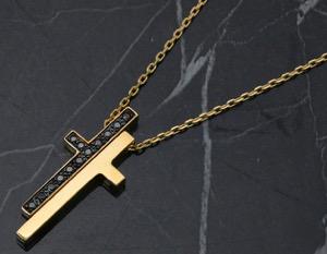 グッチ GUCCI ネックレス セパレート シンボル クロス ダイヤモンド 0.18ct イエローゴールド 100892 J8653 8029 レディース