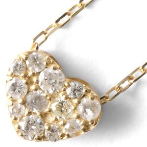 ジュエリー ネックレス アクセサリー レディース ダイヤモンド 12粒 0.15ct K18 ハート クリア&イエローゴールド D10113031 Y JEWELRY