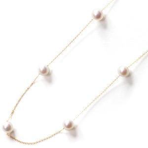 ジュエリー ネックレス アクセサリー レディース アコヤ花珠真珠 7ミリ 11粒 K18 パールホワイト&イエローゴールド DKPN10 YG JEWELRY