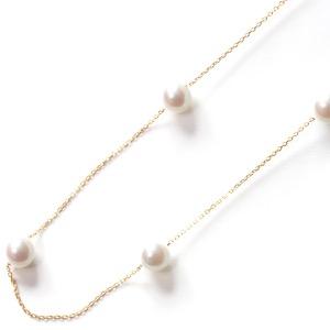 ジュエリー ネックレス アクセサリー レディース アコヤ花珠真珠 7ミリ 7粒 K18 パールホワイト&イエローゴールド DKPN11 JEWELRY