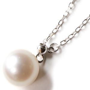 ジュエリー ネックレス アクセサリー レディース アコヤ花珠真珠 8ミリ 1粒 K18 パールホワイト&ホワイトゴールド DKPY12 WG JEWELRY