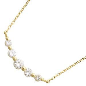 ジュエリー ネックレス アクセサリー レディース ダイアモンド 0.3カラット 5粒 K18 クリア&イエローゴールド DTP05623 YG JEWELRY